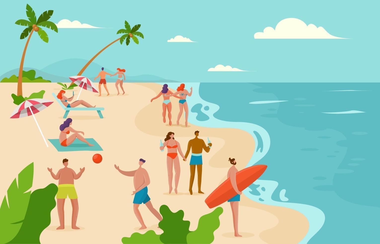 mensen op het strand in de zomer vector