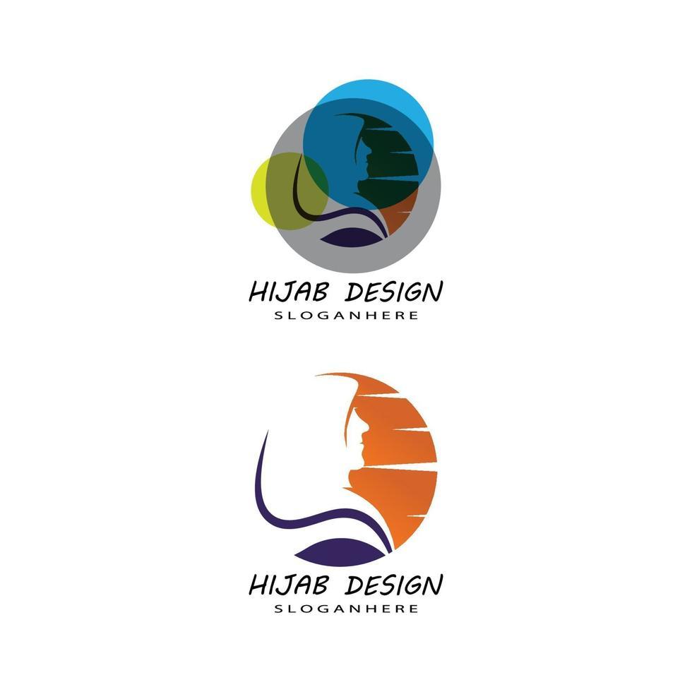 muslimah hijab logo sjabloon vector illustratie ontwerpset