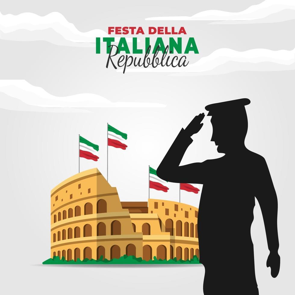 republiek dag van italië poster met colosseum vector