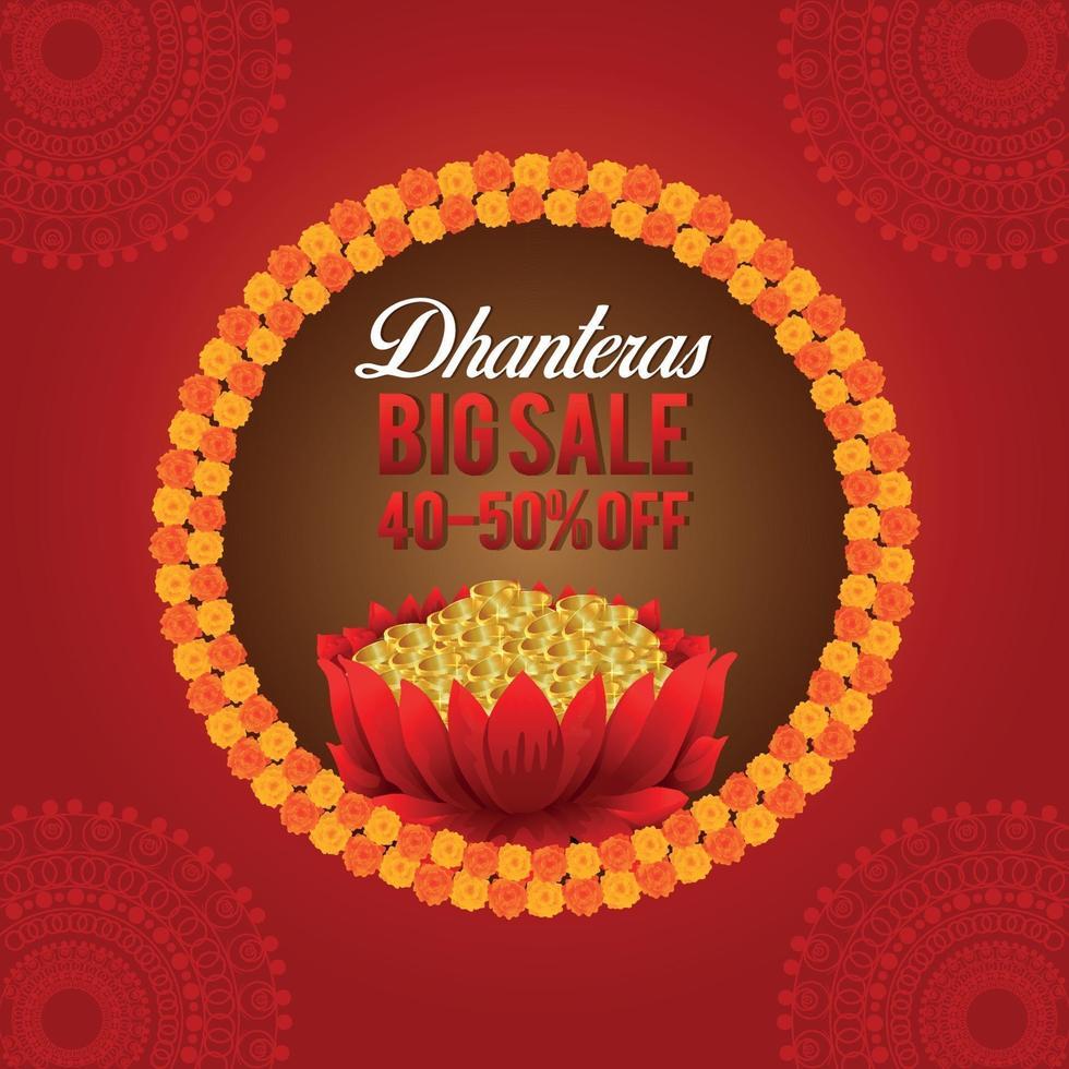 gelukkige dhanteras indian festival wenskaart met gouden munt en lotusbloem vector