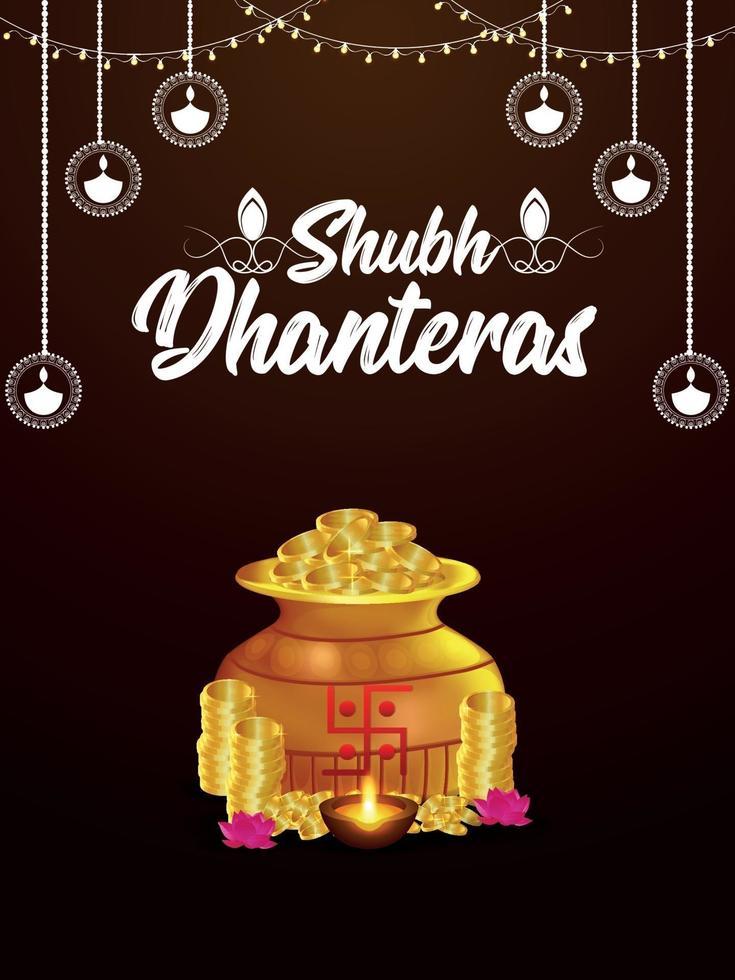 gelukkige dhanteras indian festival wenskaart met gouden muntenpot en kalash vector