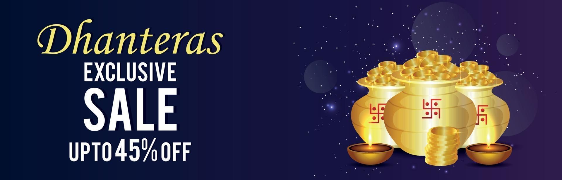 gelukkige dhanteras-verkoopbanner met gouden muntpot en diwali diya vector