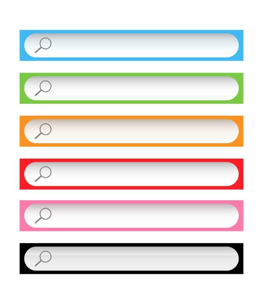 kleurrijke zoekwerkbalken vector