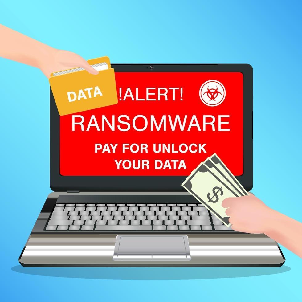 laptop computer geïnfecteerd ransomware virus betalen voor ontgrendel gegevens vector