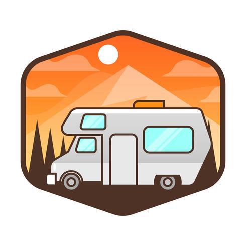 Platte auto Badge met achtergrond sjabloon met achtergrond vector illustratie