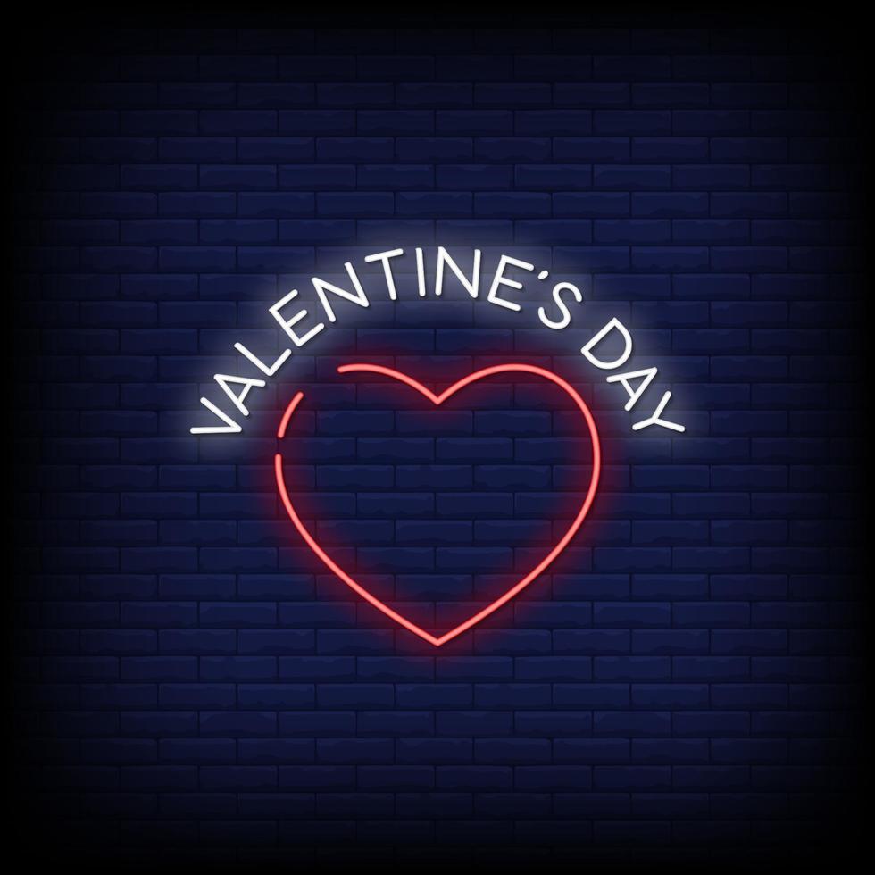Valentijnsdag neonreclames stijl tekst vector
