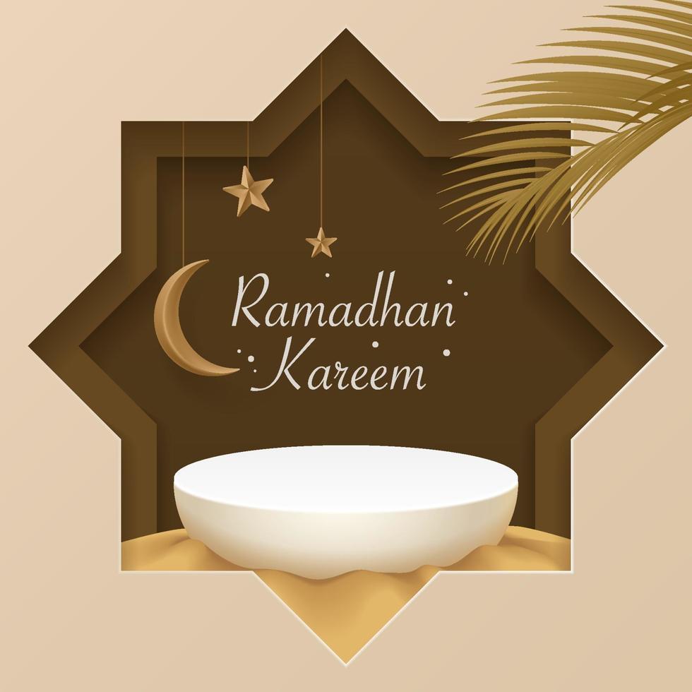 3d islamitisch podium op zand met wassende maan, sterren, datumblad. islamitische groeten banner. toon product, cosmetica, podium, sokkel, basis, platform, presentatie. 3D-realistische vector podium