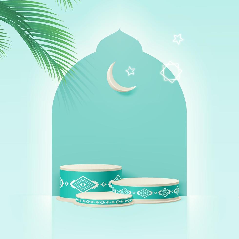3d islam minimaal cilinderplatform met datumblad, wassende maan en sterren. productpresentatie, cosmetisch, podium, sokkel, display, podium, sokkel of platform. 3D-realistische vector