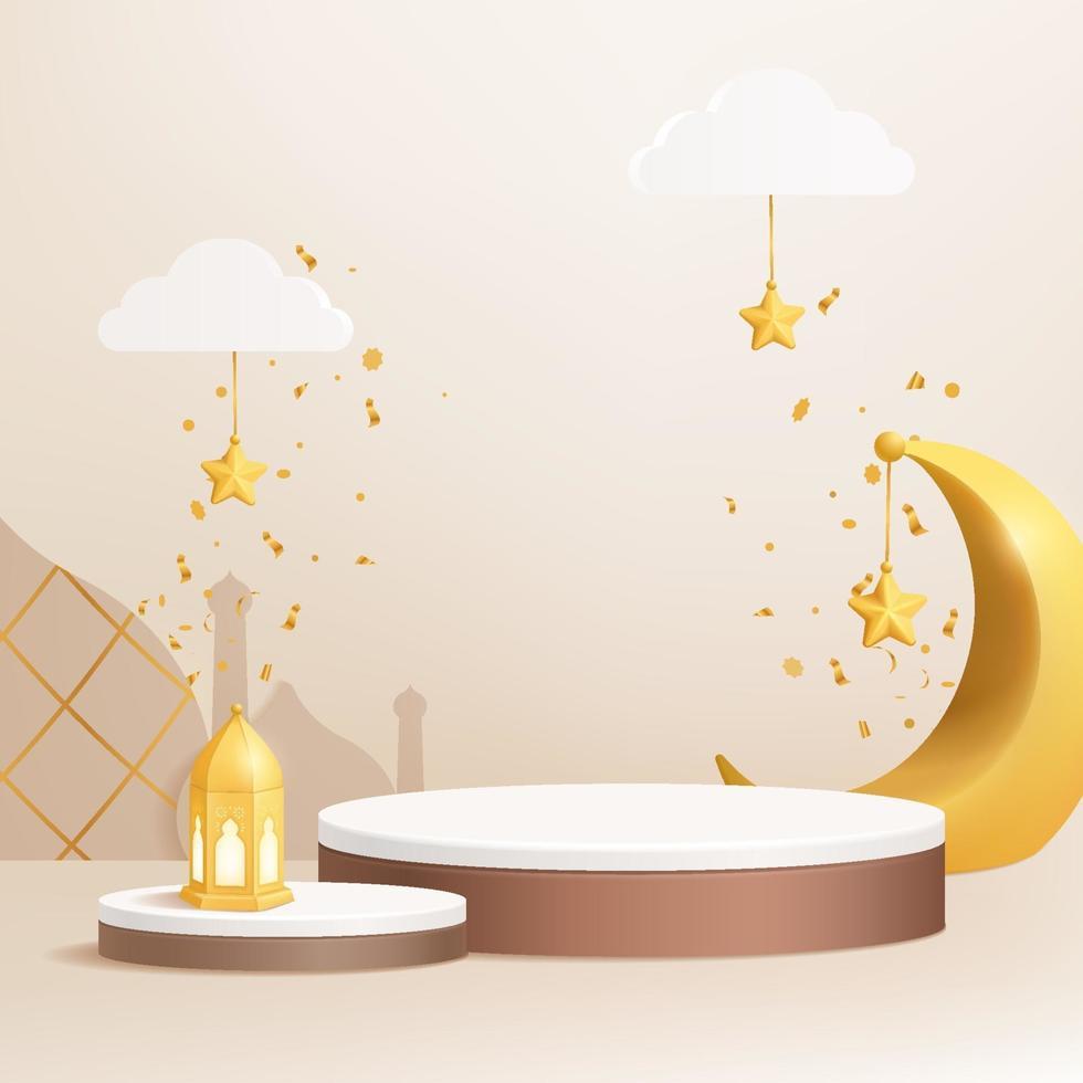3d islamitisch podium op crèmekleurige achtergrond met wassende maan, lantaarn, sterren, wolken vector