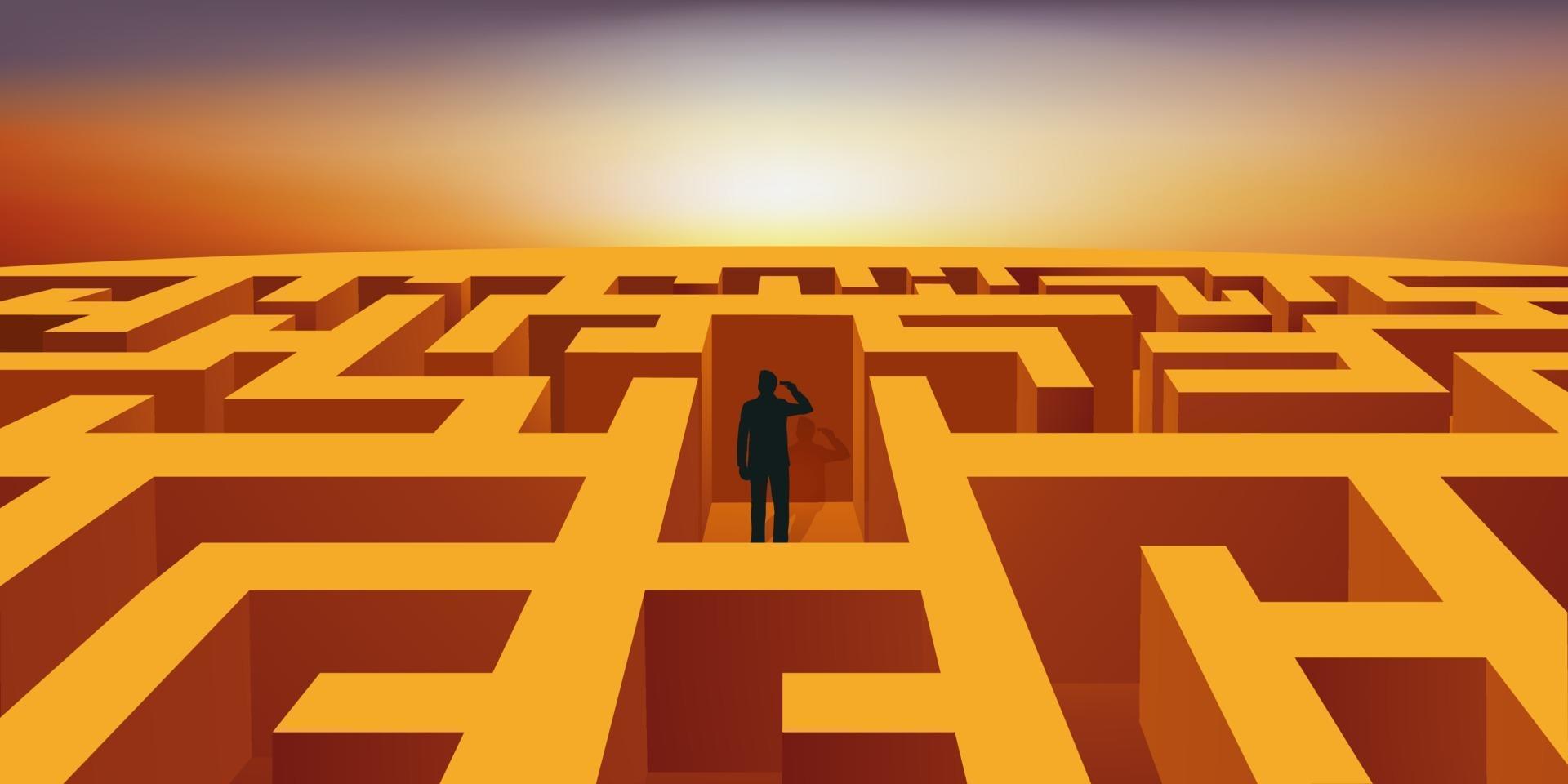 een man verdwaald in een labyrint pleegt zelfmoord. vector