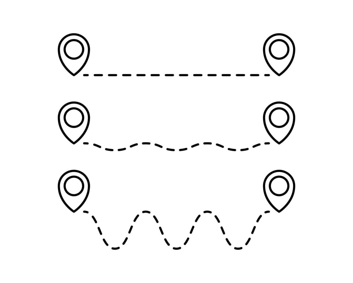 routelocatiepictogram, twee kaartspeldteken en weg of pad, begin en einde reis symbool, zwarte kleur vectorillustratie geïsoleerd op een witte achtergrond vector