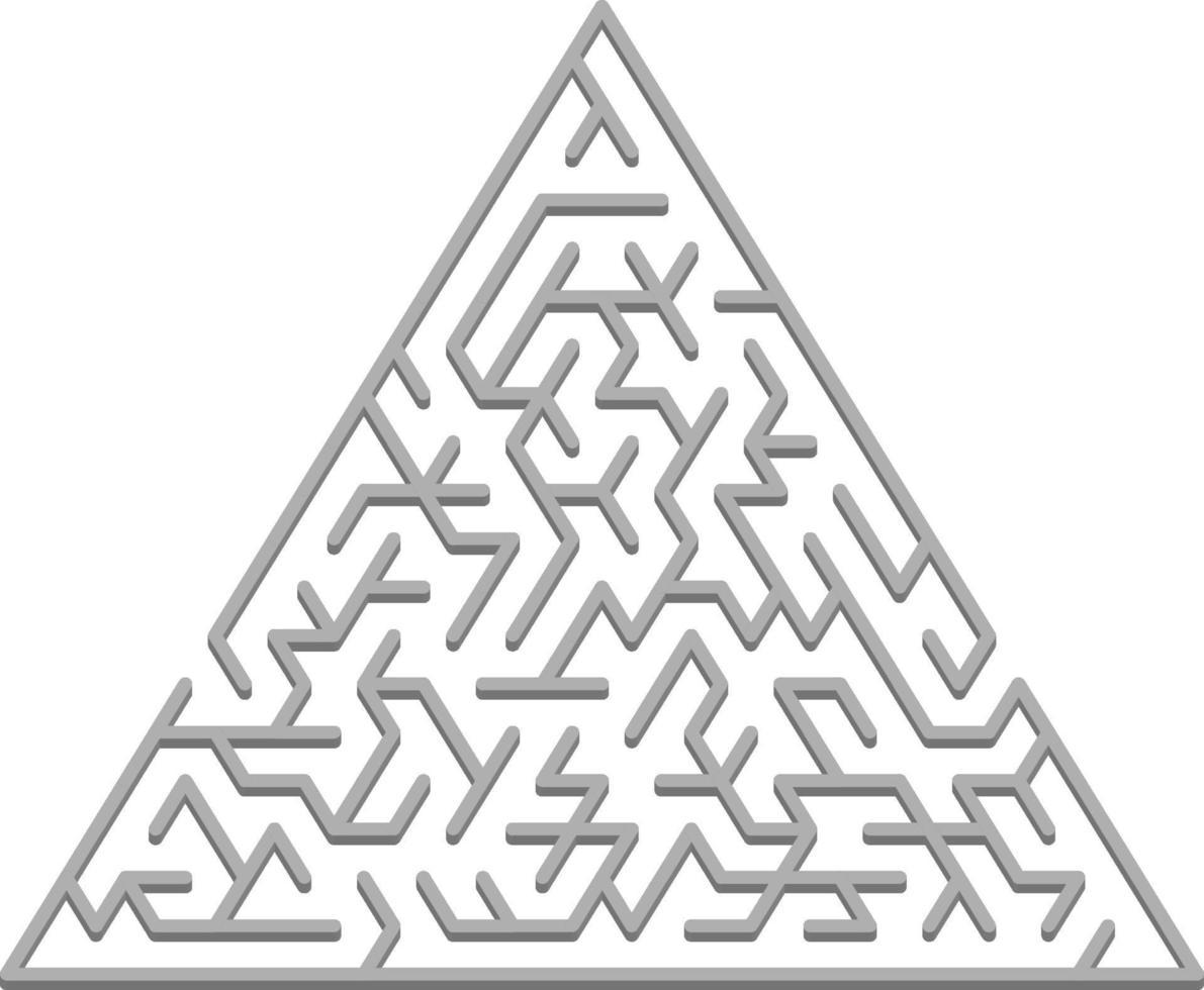 vector sjabloon met een grijze driehoekige 3d doolhof, puzzel.