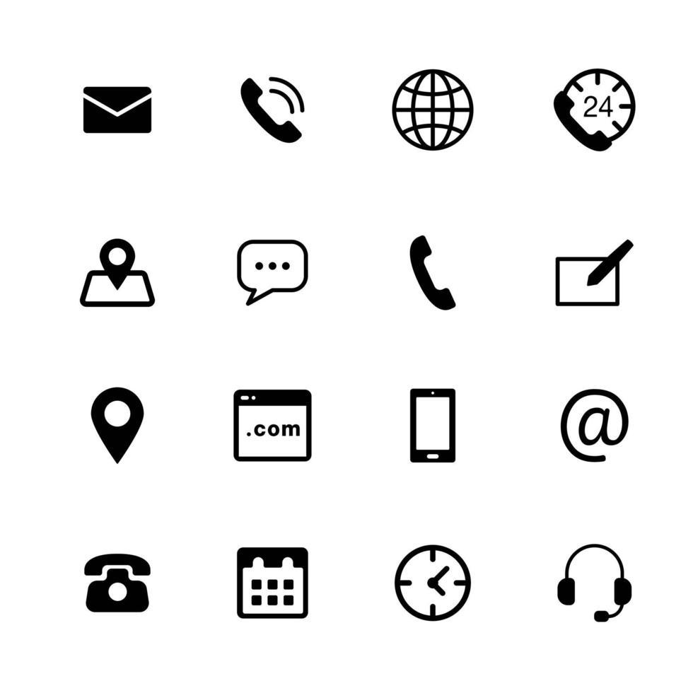 essentiële contactpictogrammen voor web mobiele apps, e-mail, bericht, oproep, klantenservice, locatie vector icon pack