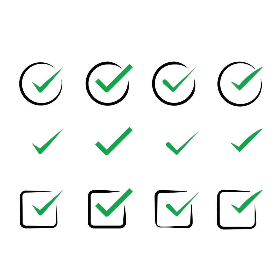 vinkje teek, groen controleren pictogrammen instellen collectie vector pack