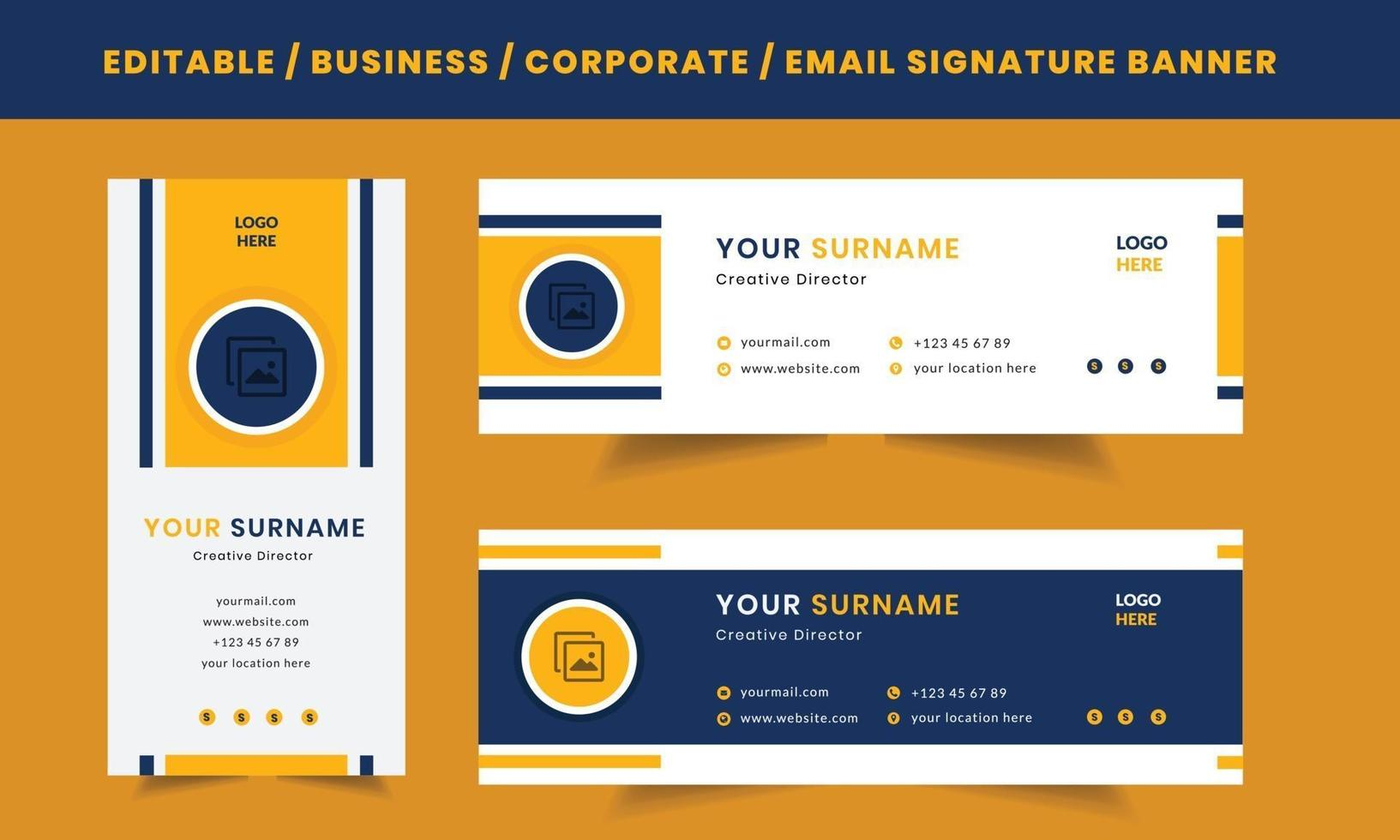 sjabloon voor e-mailhandtekening, lay-out voor zakelijke professionele e-mailontwerpen vector