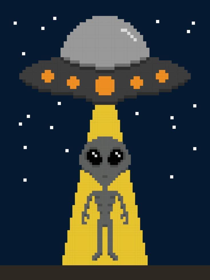 pixel art buitenaardse invasie op aarde vector