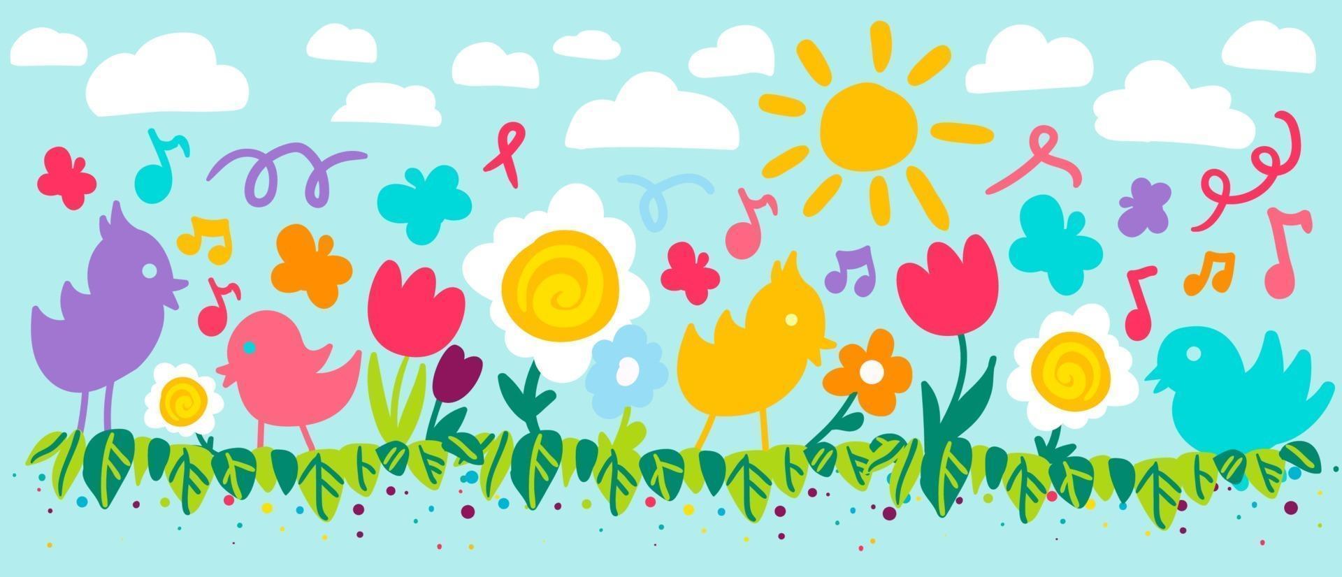 bloemen en vogels platte vectorillustratie vector