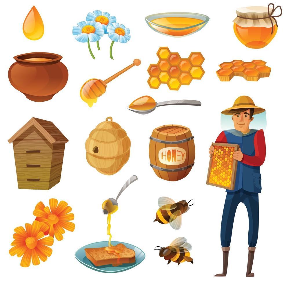 honing cartoon set vectorillustratie vector