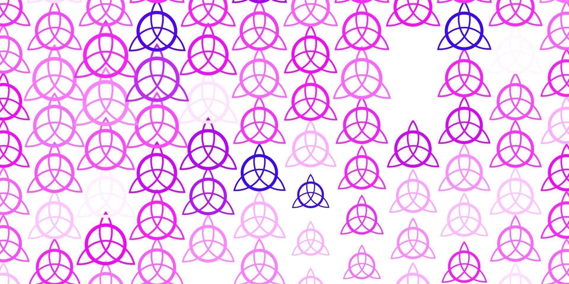 lichtpaars, roze vector sjabloon met esoterische tekens.