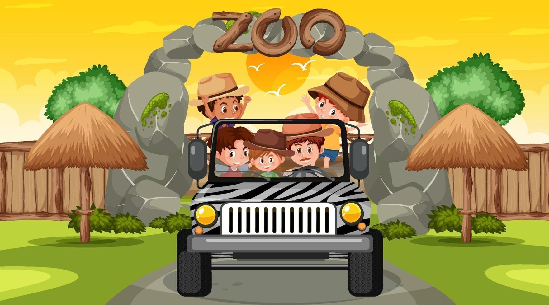 dierentuin bij zonsondergang met veel kinderen in een jeepauto vector