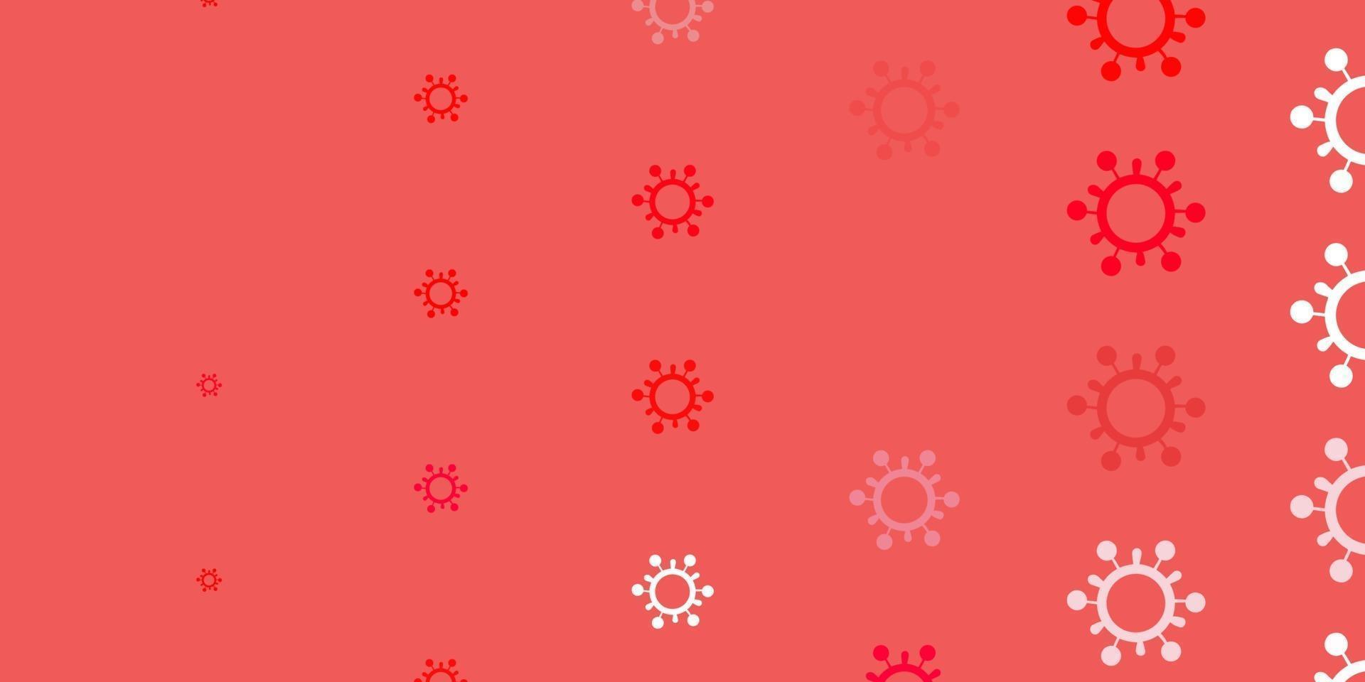 lichtroze, rode vectorachtergrond met covid-19 symbolen. vector
