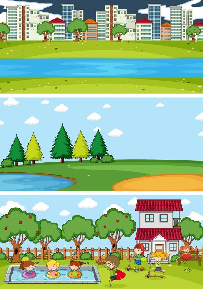 set van verschillende horizontale scènes achtergrond met doodle kinderen stripfiguur vector