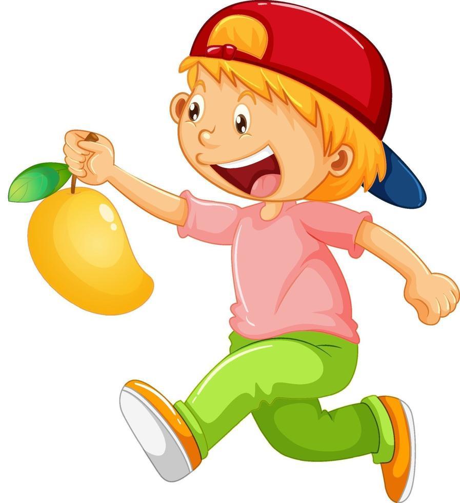 gelukkig meisje stripfiguur met een mango vector