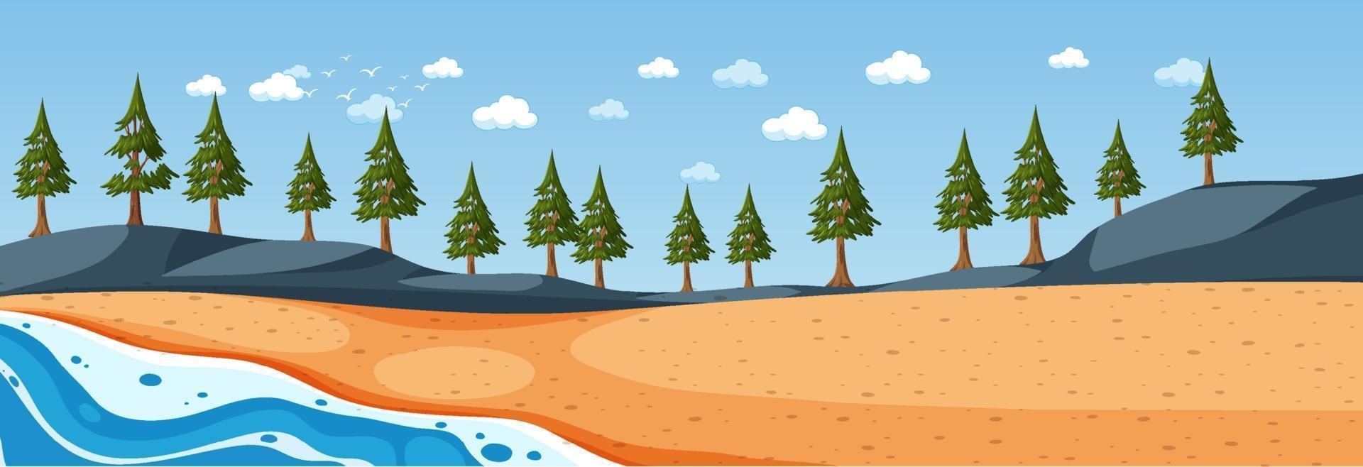 strand horizontale scène overdag met veel pijnbomen vector