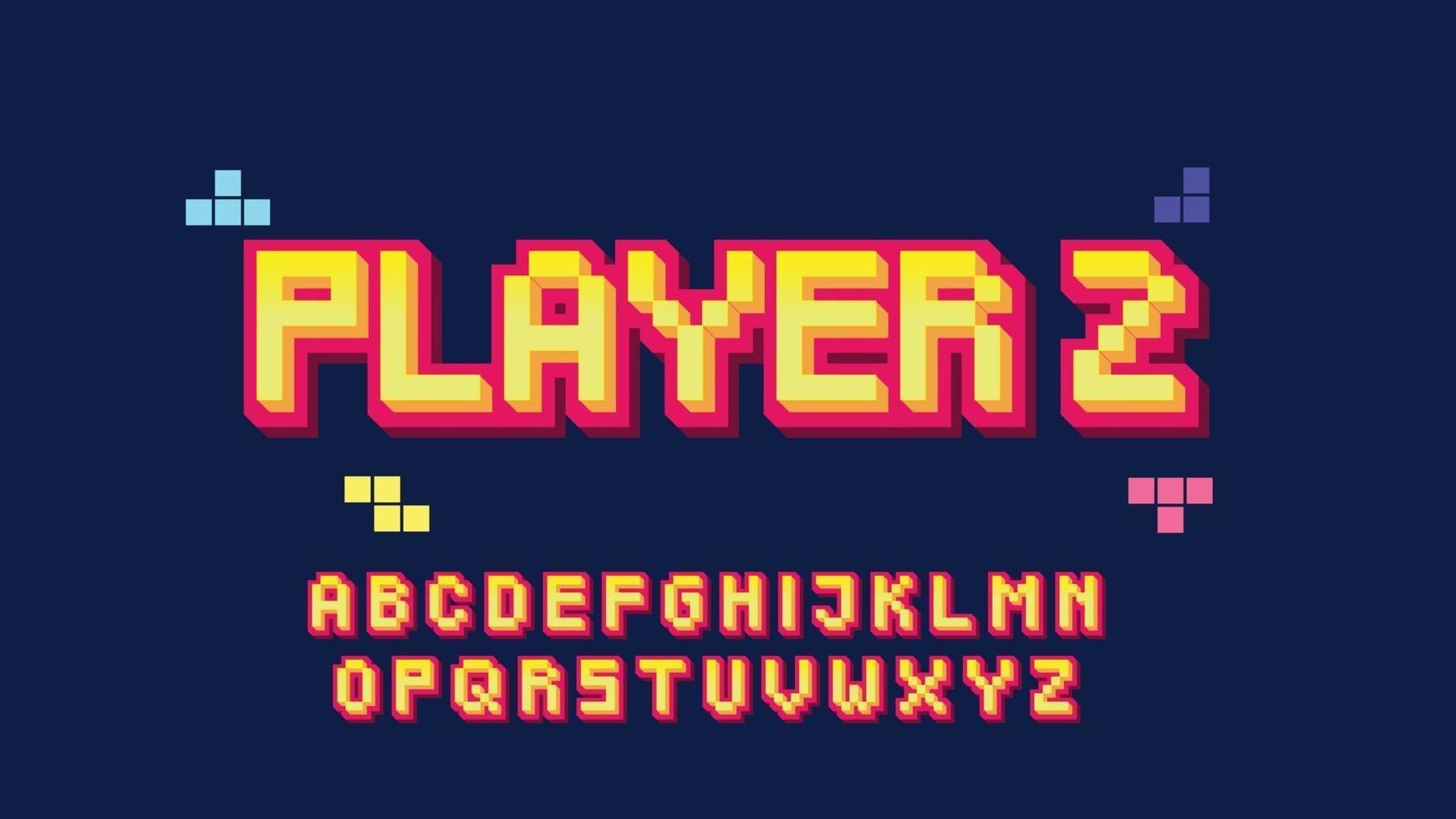gele en rode 3d typografie van de pixelstijl vector