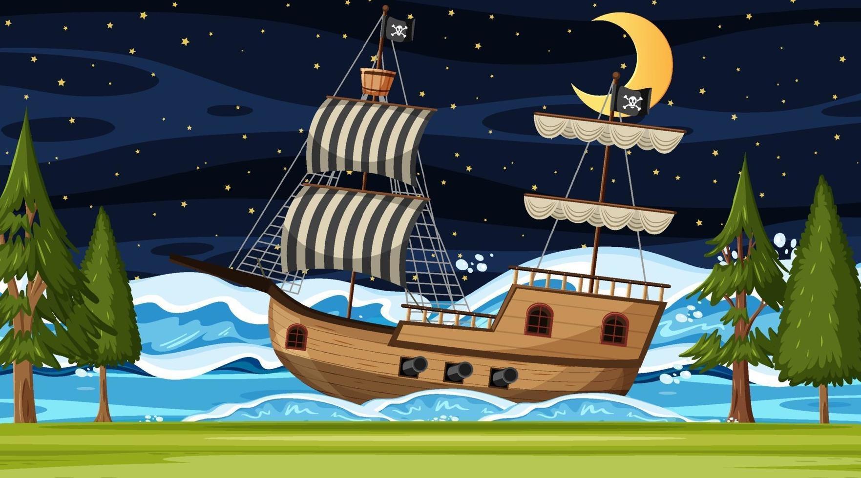 oceaan met piratenschip bij nachtscène in cartoonstijl vector