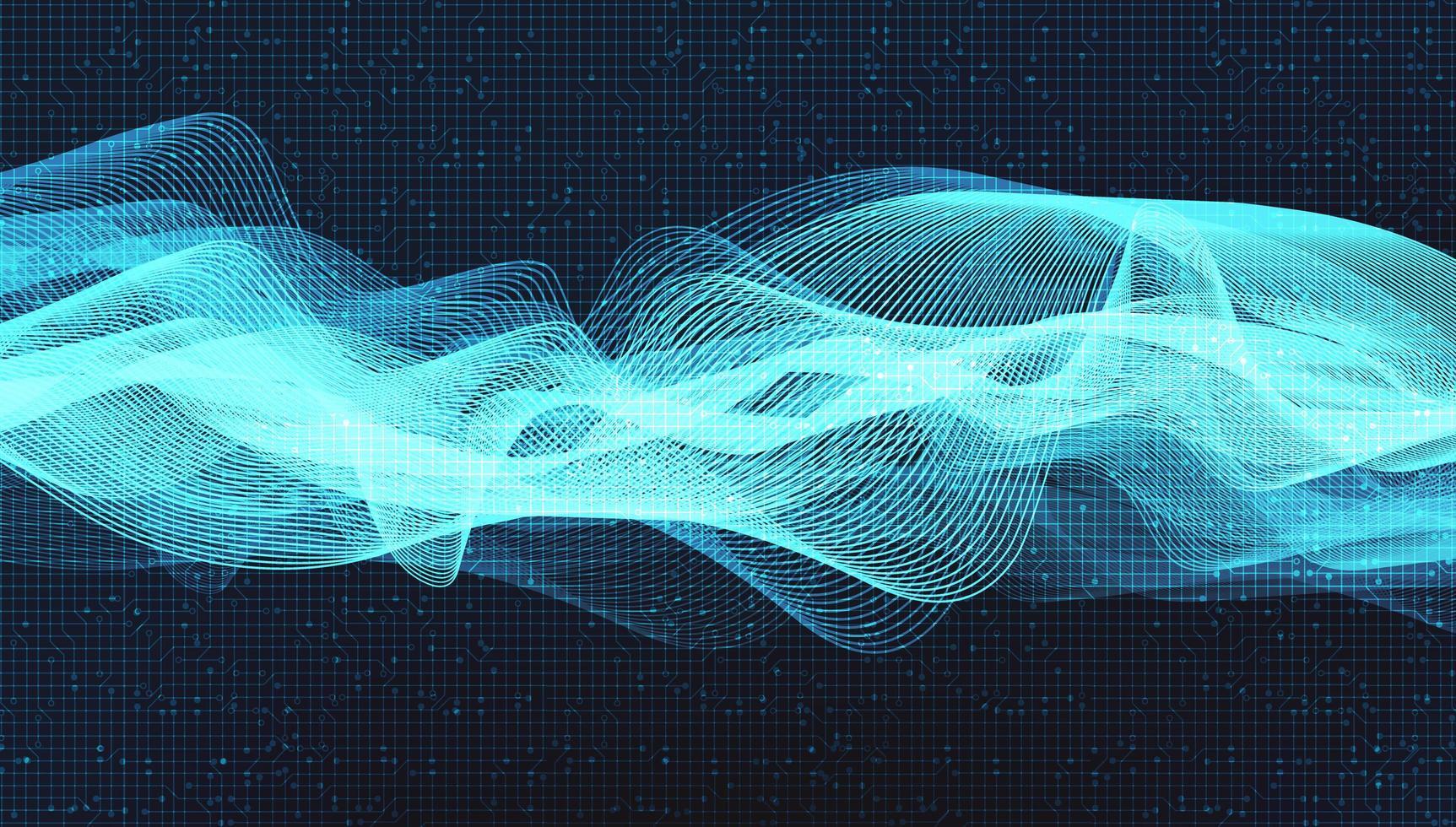 blauwe schakelingsmicrochip op technologieachtergrond, hi-tech digitaal en veiligheidsconceptontwerp, vrije ruimte voor ingevoerde tekst, vectorillustratie. vector