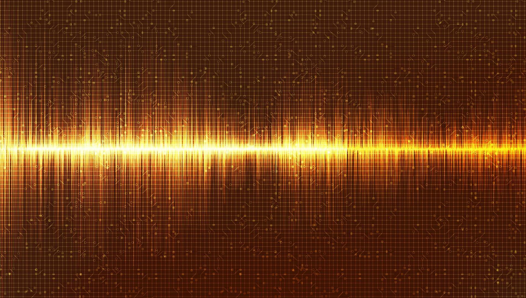 gouden digitale geluidsgolfachtergrond, muziek en hi-tech diagramconcept, ontwerp voor muziekstudio en wetenschap, vectorillustratie. vector