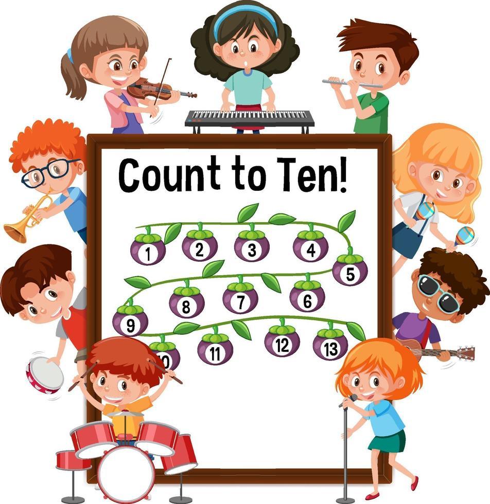tel tot tien nummerbord met veel kinderen die verschillende activiteiten doen vector