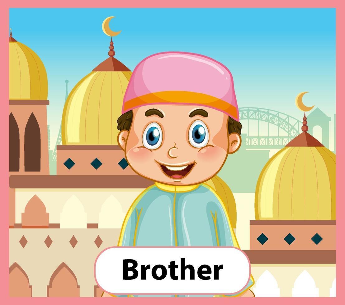 educatieve Engelse woordkaart van broer vector