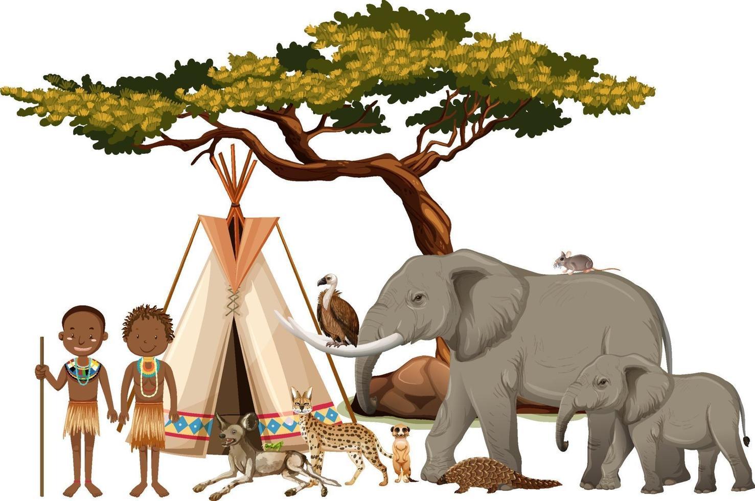 Afrikaanse stam met groep wilde Afrikaanse dieren op witte achtergrond vector