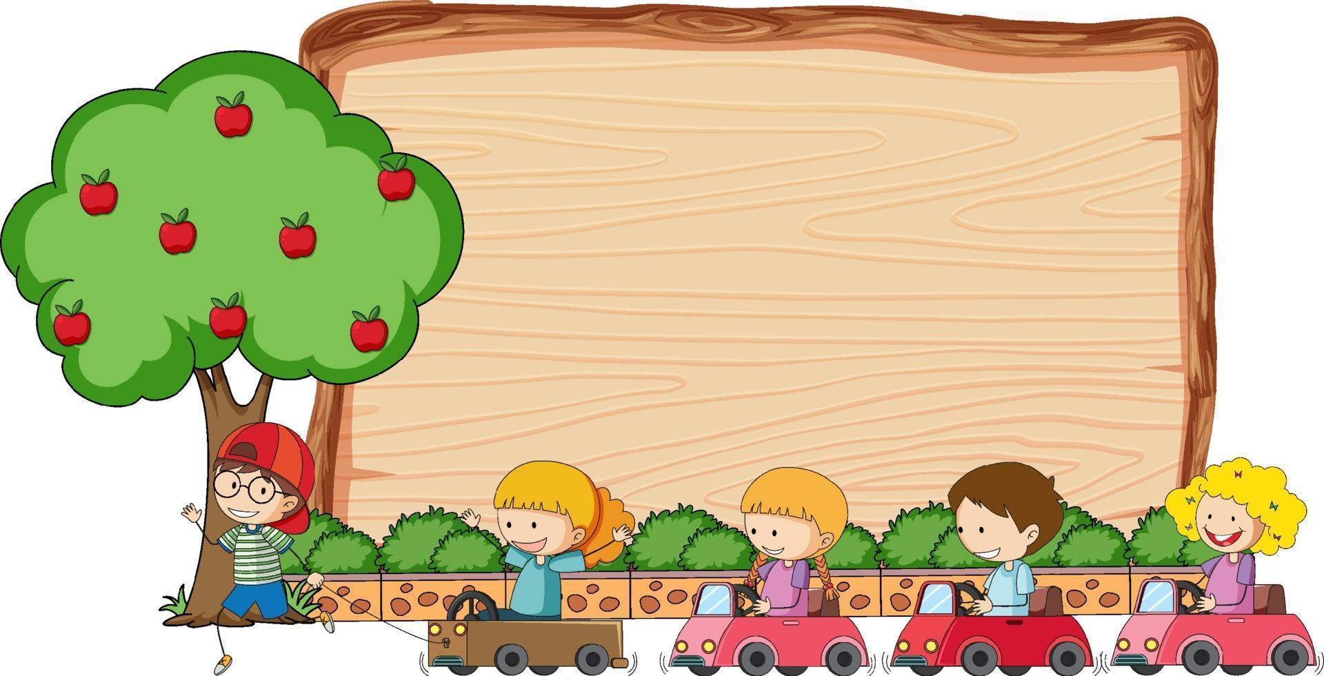 lege houten plank met veel kinderen doodle stripfiguur vector