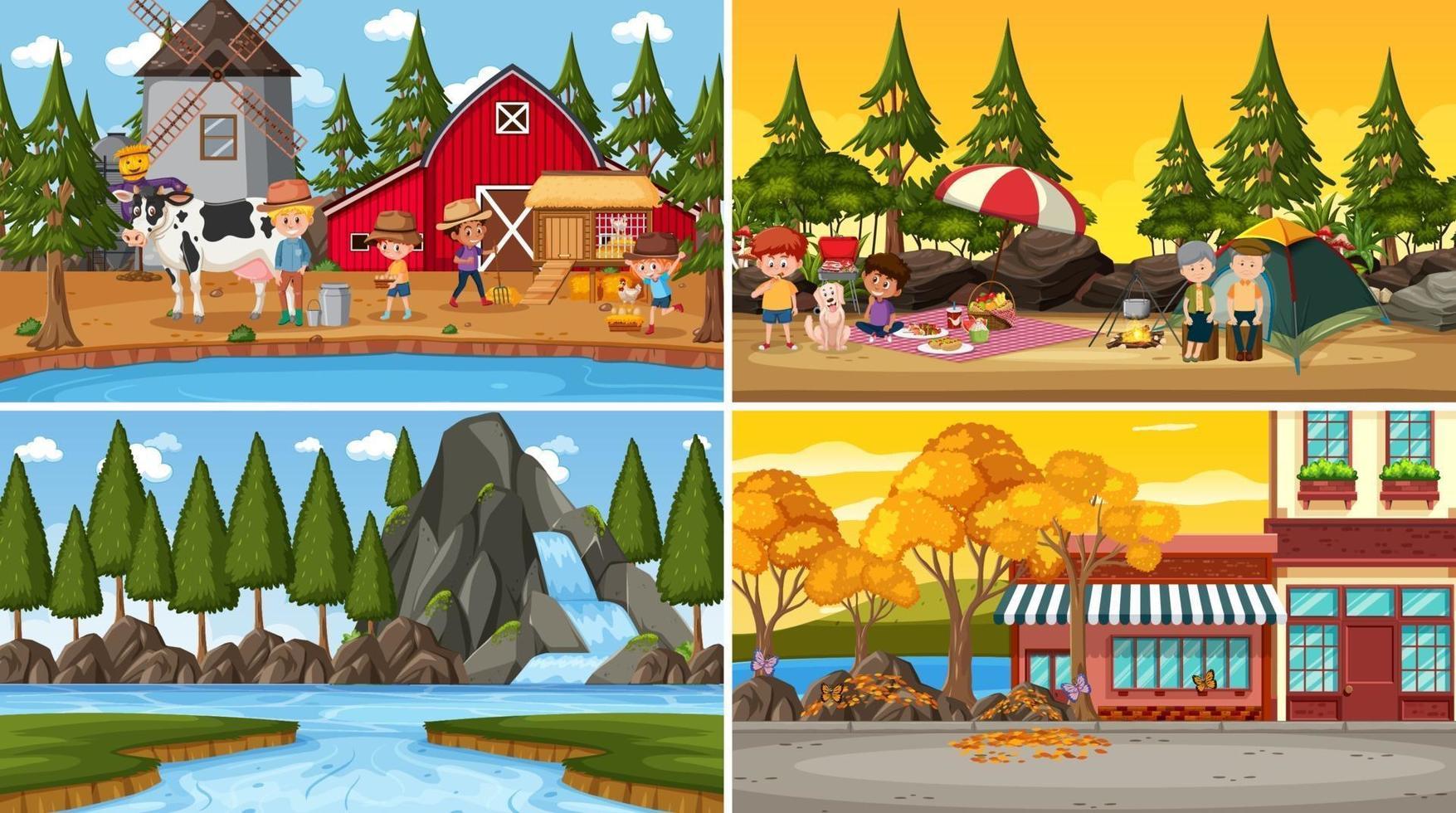 set van verschillende natuur scènes achtergrond in cartoon stijl vector