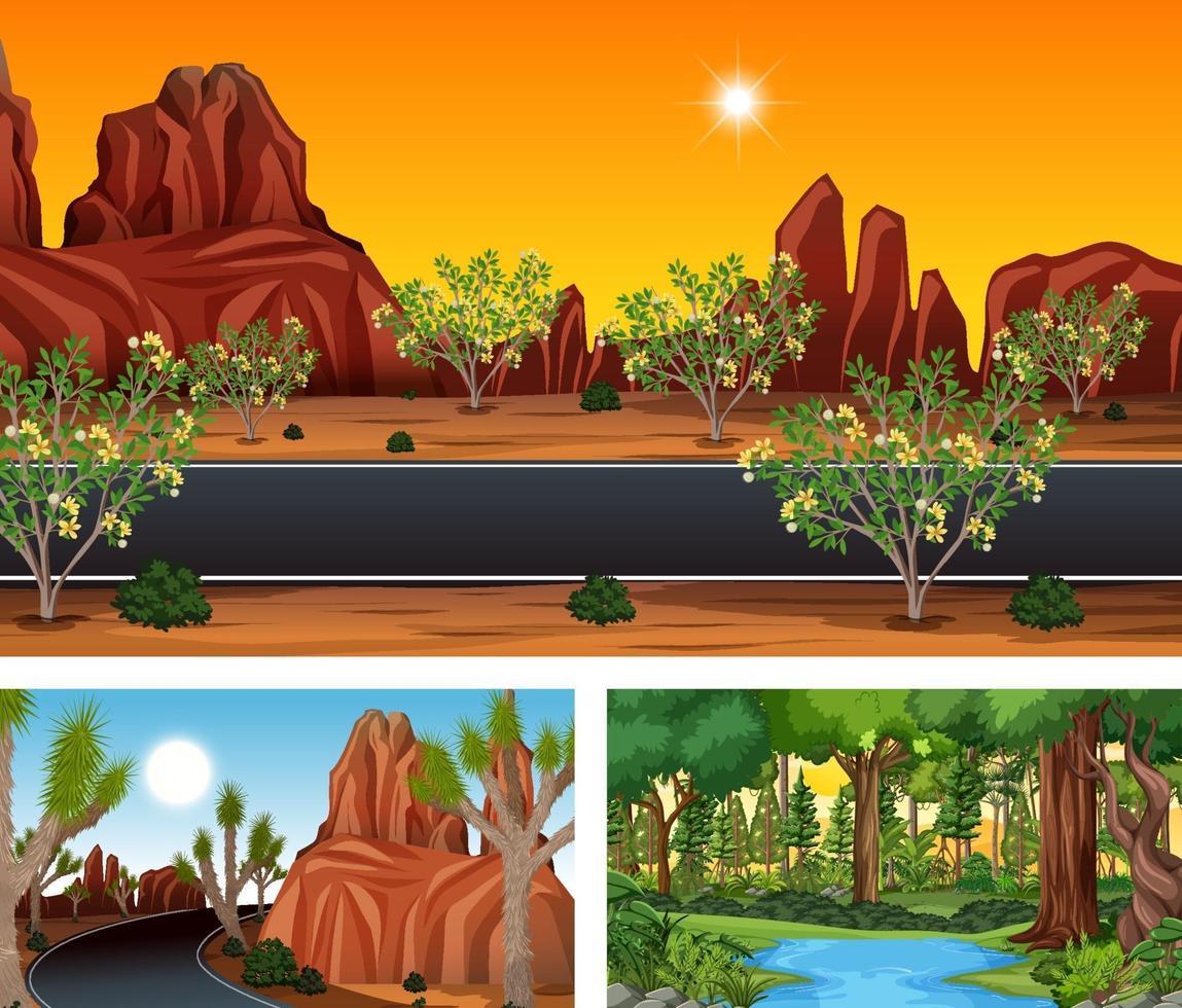 verschillende natuur horizontale scènes vector