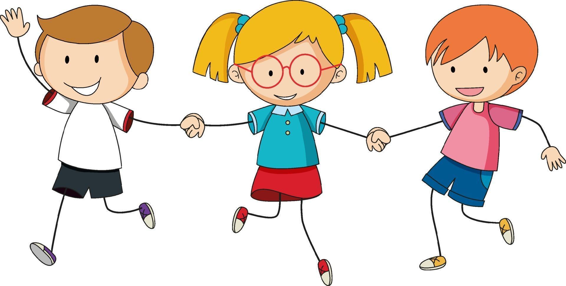 drie kinderen hand in hand cartoon karakter hand getrokken doodle stijl geïsoleerd vector