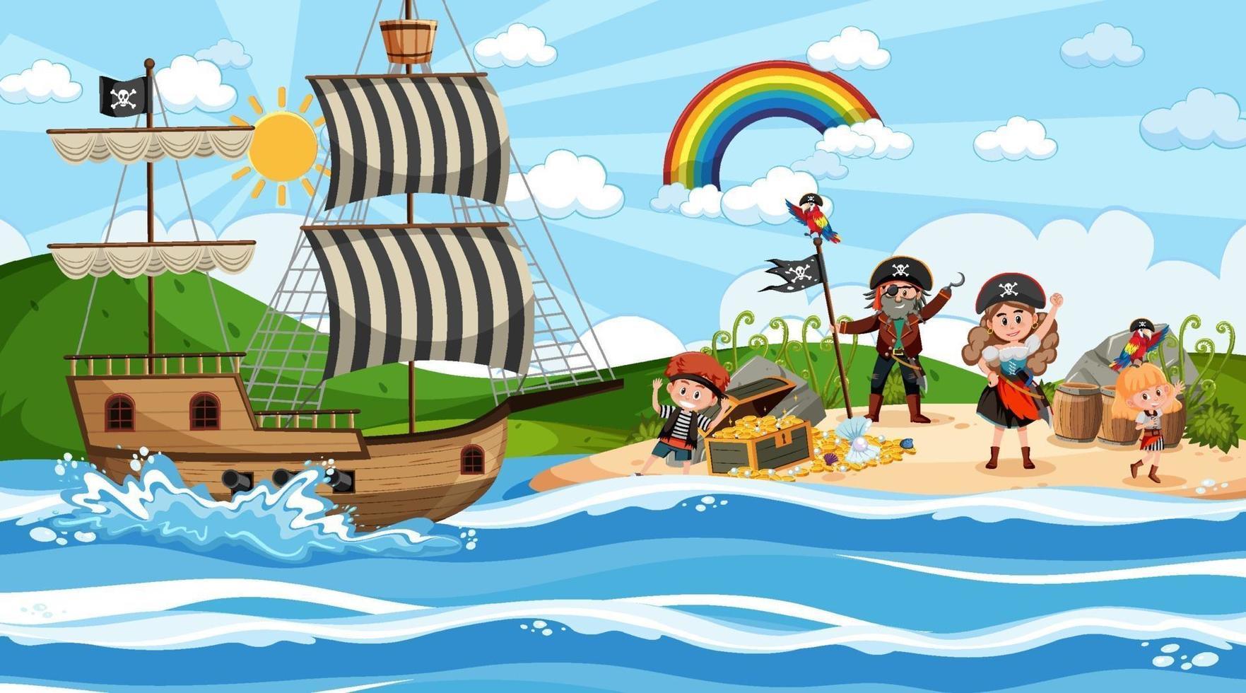 schateilandscène overdag met piratenkinderen vector