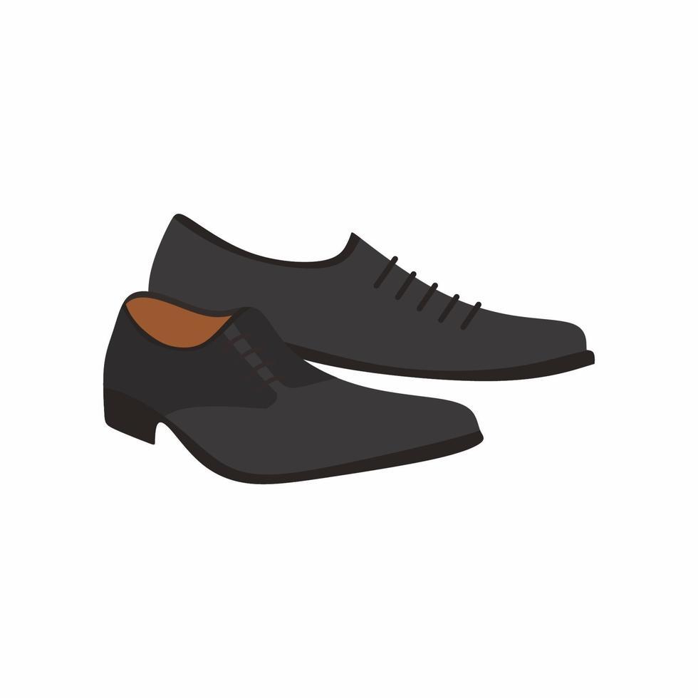 man afstuderen schoenen. klassieke herenschoenen met zwarte kleur. mannen accessoires geïsoleerd op een witte achtergrond. modieuze schoenen pictogramstijl platte cartoon. vector illustratie