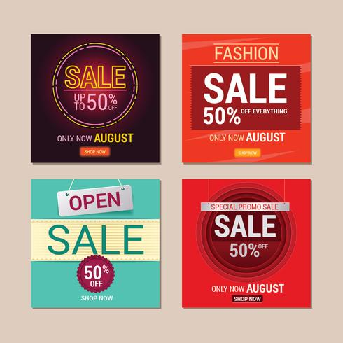 Set van Sale Instagram sjabloonontwerp voor verkoop promotie vector