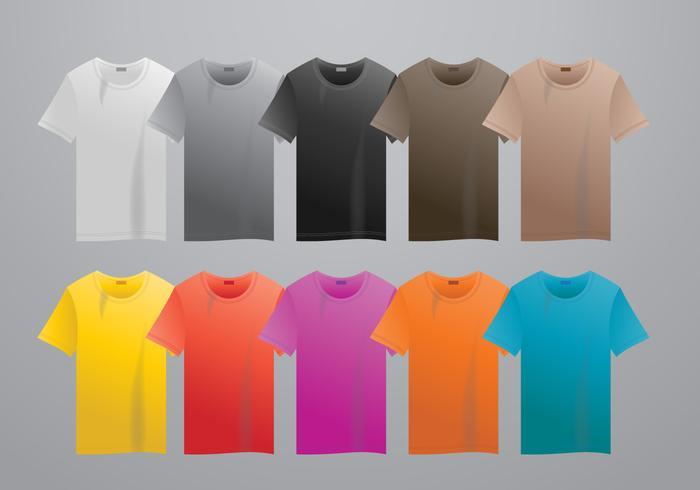 Realistische vector t-shirt met grootte mock up illustratie kleurrijke modus