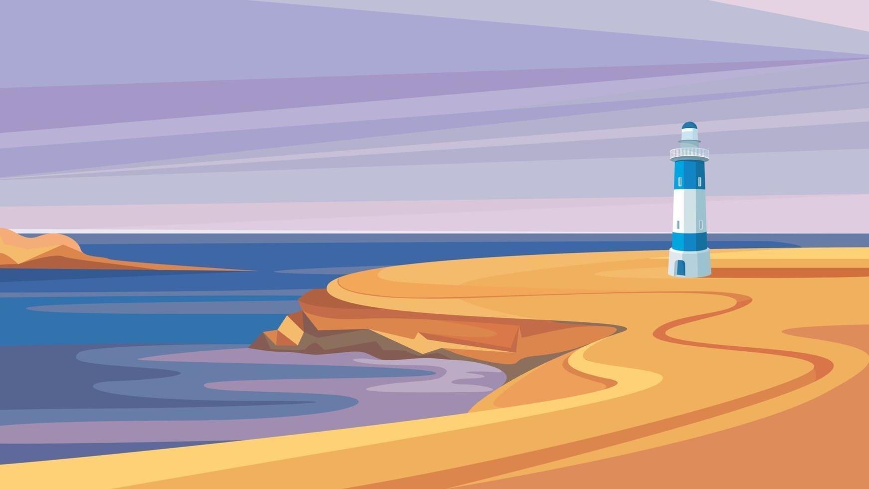 vuurtoren aan zee. vector