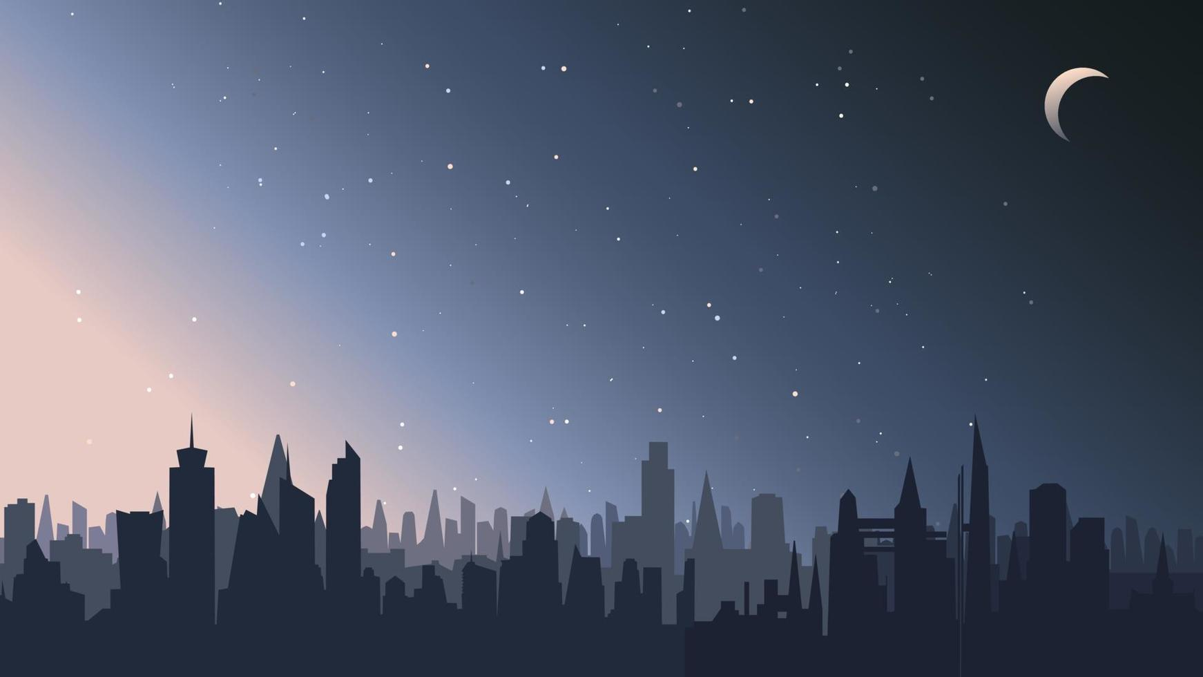 stadslandschap in de nacht. vector