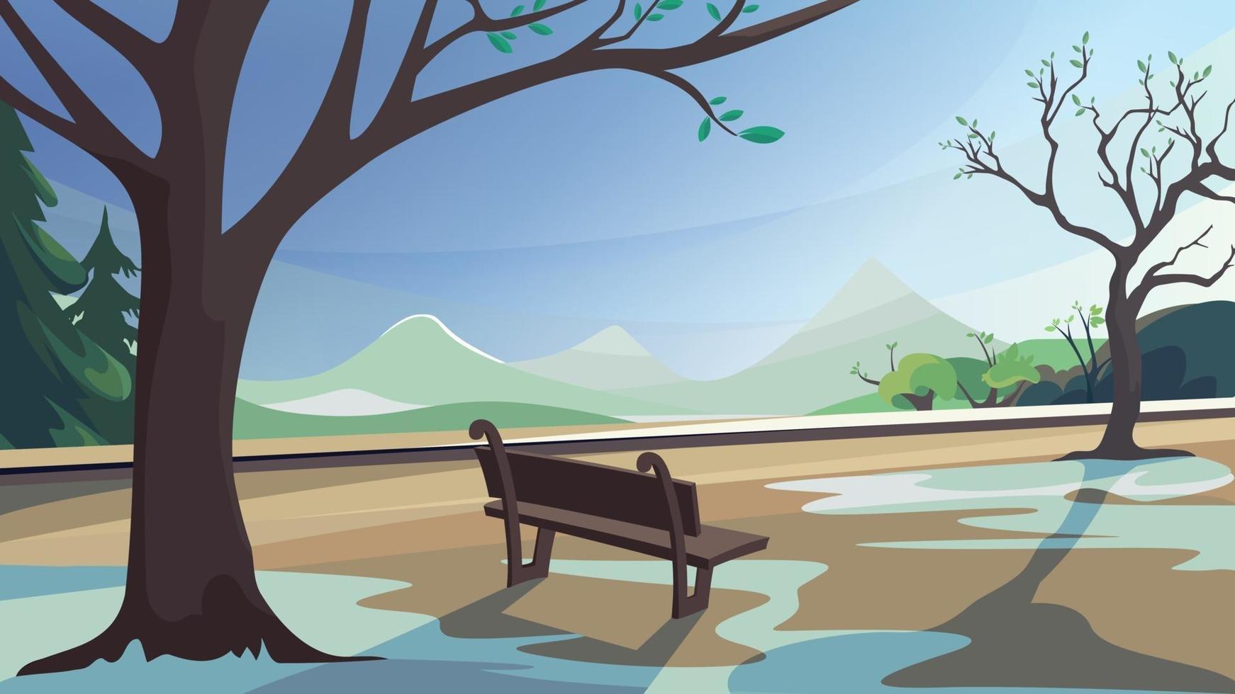lentepark op achtergrond van bos en bergen. vector