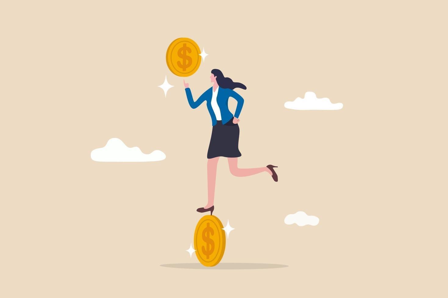 zakenvrouw saldo op het draaien van dollar geld munt vector
