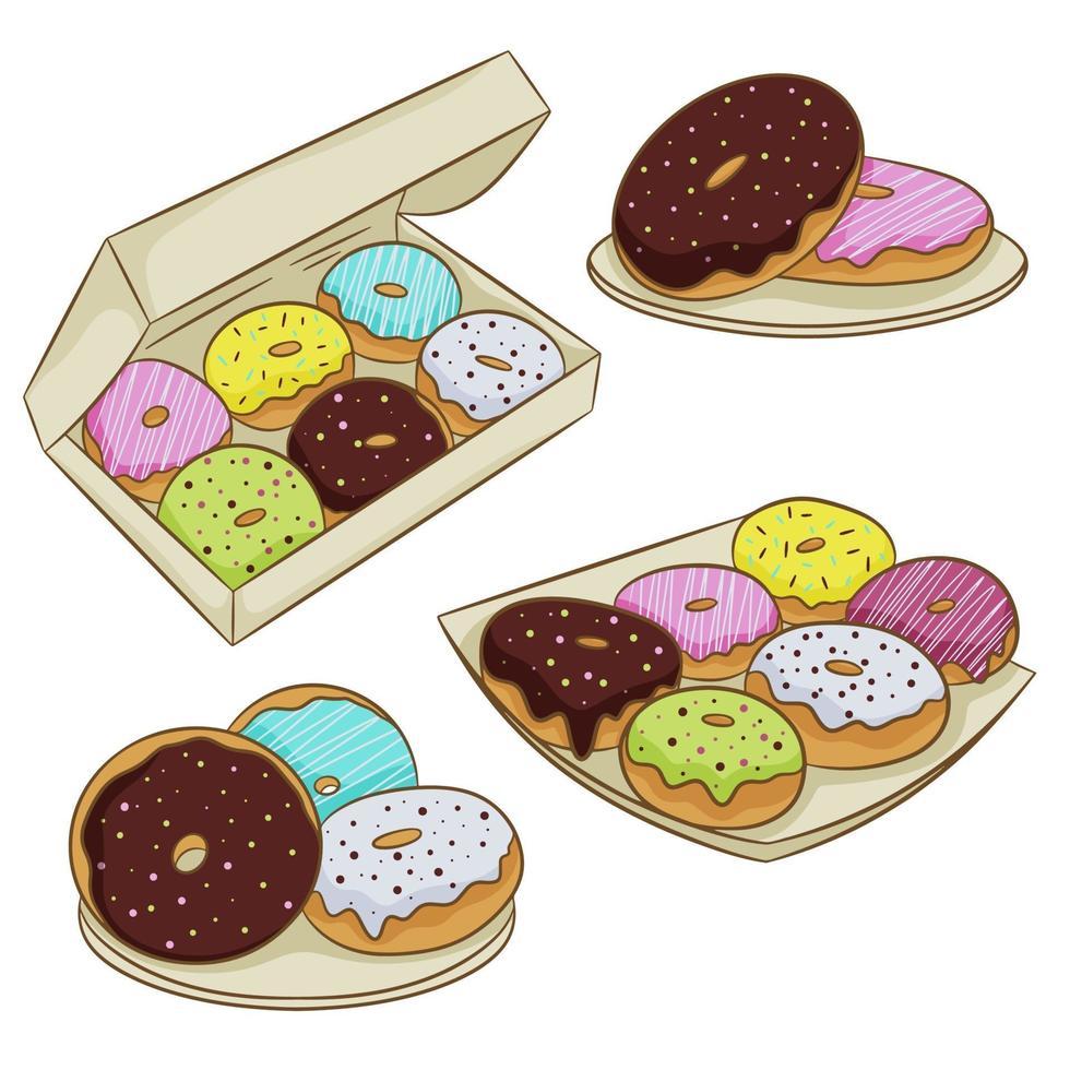 een verzameling van kleurrijke geglazuurde donuts in een doos, geïsoleerd op een witte achtergrond. vectorillustratie in cartoon vlakke stijl. vector