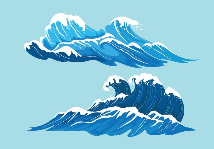 Stel illustratie van volle zee met gigantische golven vector
