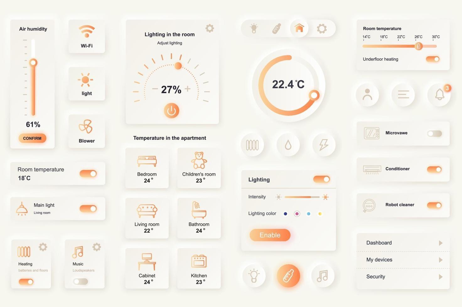 gebruikersinterface-elementen voor smart home mobiele app neumorfische ontwerpsjabloon ui-elementen vector